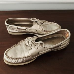 Sperry Gold Metallic Top Sider Boat Shoes Loafers
